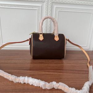 Designer Luxus SCHNELLE Schulter Mini nette Handtasche Leder Schulterquertaschen 16cm Weibliche NANO Eimer braune Blumenminikissen cluch BAG