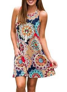20 색 여성 미니 드레스 여름 보헤미안 꽃 디지털 인쇄 민소매 섹시한 크루 넥 홀리데이 비치 보헤미안 드레스 패션 스판덱스 3XL DHL