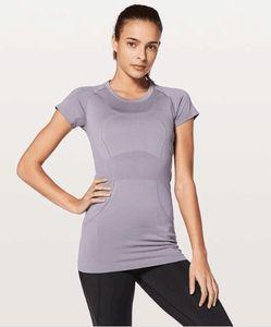 LU-57 New verão yoga Tops Mulheres Sólidos Rapidamente T-shirt do grupo da tecnologia de manga curta Corredor da ginástica roupa do exercício Esportes da aptidão Shirts