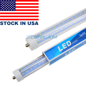 T8 8FT LED Tube Light, 72w Single Pin FA8 Lamps, 6000K Cold White, Fluorescent Bulb Replacement, Clear Cover, Dual-Ended Power