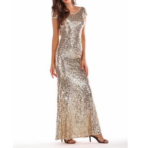Frauen-Sommer-elegante Partei-Kleid weibliche Backless Bodycon Art und Weise lange Kleid ärmellos Pailletten-Kleid-Frauen-Kleidung Damen T-Shirts