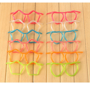 Eco-Friendly Главная Смешной Прозрачный мягкий пластик соломы очки Уникальная гибкая Питьевой Tube Kids Party Bar аксессуары