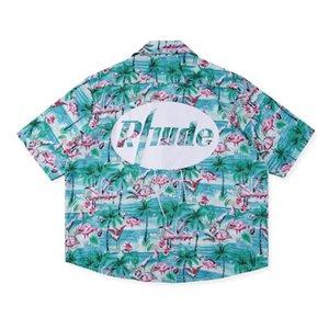 Yeni Tişörtlü Mens Hawaii Gömlek Yaz Kısa Kollu Tek Breasted T Shirt Hi-Sokak Erkek Tişörtlü Flamingo Rhude Patron