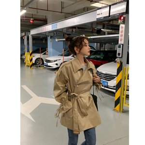 Primavera Autunno cappotto della signora della ragazza delle donne Girlish moda del cappotto di polvere del cappotto di polvere outercoat Chic Loose Fit Vintage Khaki stile semplice B103026Z