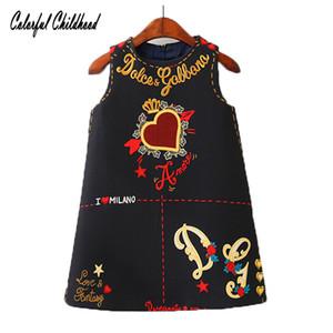 Девушки платья без рукавов О-образным вырезом малыша платье прекрасный через сердце дизайн вышивка Детская одежда Детские Jurk Q190520