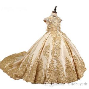 2019 Yeni Stil Balo Prenses Küçük Kızlar Pageant elbise Fuşya Küçük Bebek Camo Çiçek Kız Elbise Ile Boncuk