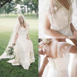 2020 Boho Country Estate Un merletto in rilievo linea vestiti da sposa Ritratto Sweetheart Bohemian Wedding Gowns sweep treno abito da sposa a buon mercato