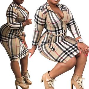 Plus Size Women Fashion Slim Fit Langarm Bodycon Reißverschluss vorn Plaid Printed Midi-Bleistift-Kleid mit Gürtel