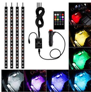 Geral Car styling remoto sem fio / Music / Voice Control Interior Andar Pé Decoração Luz Atmosfera RGB Neon LampStrip
