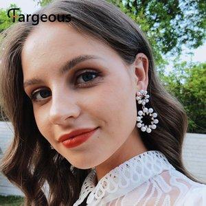 Fargeous большие серьги металлические геометрические серьги женская мода кулон boho pearl женские ювелирные изделия подарки для вечеринок