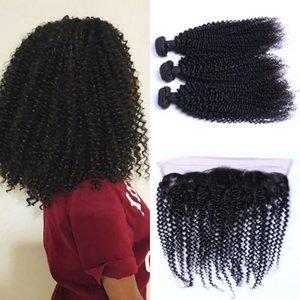 3 Paketler İnsan Saç Atkı ile Frontal 13x4 Dantel Frontal Clsoure ile Perulu Kinky Kıvırcık Paketler