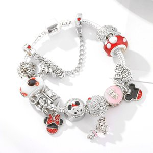 cartoon style children's bracelet for Pandora bracelet style series ladies jewelry Pink glass beads bracelet