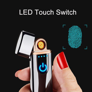 Wholesale USB Rechargeable Lighters Electronic Cigarette Lighter Flameless Touch Screen Switch Colorful Windproof Lighter BC