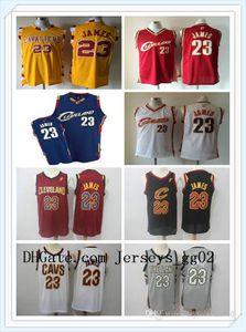 mulheres terra Mens Cleve Le Bron James 23 Throwback Basketball Jerseys Branco Cinzento Vermelho Preto Marinho AmareloClevelandnbaCavaliers