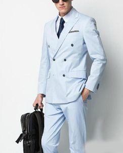 Double Breasted Light Blue Wedding Groom Tuxedos for Mens Suits Groomsmen Best Man Suit 3 Piece Wedding Suits Bridegroom (Jacket+Pants+Tie)