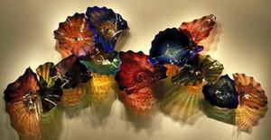Новый стиль Цветные стеклянные пластины Wall Art для украшения дома Современные стекла Светильники из муранского стекла цветка висячие Тарелки Wall Art