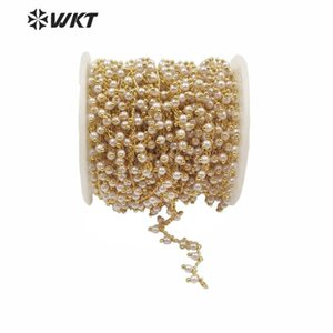 WT-RBC167 Luxury Natural Freshwater Pearl Chain Round Pearl With Gold Plated Chain For Jewelry Accessories Finding