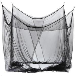 4-Köşe Queen / Kral ölçekli Oda için örgü Canopy Sivrisinek Net Yatak 190 * 210 * 240cm (Siyah) Cibinlik