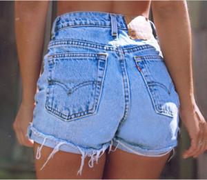 2019 Yüksek belli Kot Şort Kadınlar Yaz Günlük Sade Stil Seksi Sevgilisi Geniş Gevşek Frayed Bacak Pant