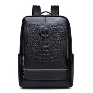 100% Cow Genuine Leather Men Backpacks Alligator Real Natural Leather Student Backpack Large Computer Laptop Bag