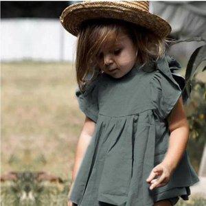 Girl Cotton linen Set Summer Pure Color Baby Cool Sleeve T-shirt PP Shorts 2pcs Set Wholesalebaby Kid Summer Clothes