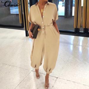 Barboteuses Vintage Women combis 2019 celmia Femme à manches courtes Cargo Pantalons Bouton Casual vrac Harem pantalons Taille Plus Salopette Y200106