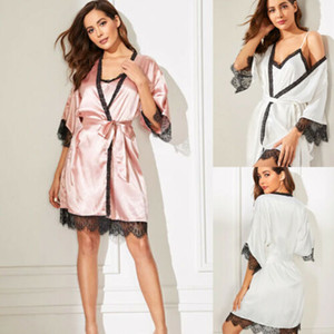 2 PCS d'été Femmes Sexy Pyjama soie Pijamas nuit profonde V Sling Lingerie Set