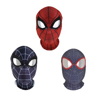Into the spider-verso longe de casa peter parker hero máscara lentes cosplay spiderman superhero adereços máscaras lycra material de tecido