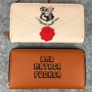 New Harry Potter series letter print designer pu leather long single zipper fashion neutral party money card holder leather mobile phone bag
