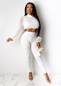 Дизайнер Polka Dot печати 2рс костюмы Мода Mesh Щитовые с длинным рукавом Повседневная естественный цвет Длинные брюки Женская одежда Женские