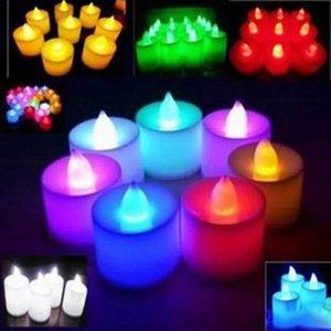 Multicolor Eletrônico Vela Luz LED Simulação Luz de Velas De Aniversário De Casamento Flameless Piscando Vela Plástica Decoração de Casa BH1905 CY