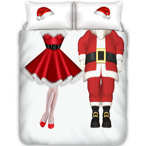Christmas Bedding Duvet Cover Pillowcase Set Double Full Queen King Size Holiday Bedroom Decor (No Sheet No Filling)