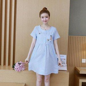 OUTAD Summer Maternity Nursing Dress Ties Waist Short Sleeve O-neck Striped Shirt Dress for Pregnant Women Pregnancy Clothing