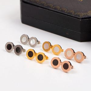 New Fashion Designer Stud Steel Titanium Round Femmes de Bijoux Boucles d'oreilles Boucles d'oreilles de haute qualité Boucles d'oreilles Noir Blanc