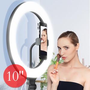10 polegadas telefone selfies selfie Anel LED Luz para Youtube Live Streaming Maquiagem Lamp Fill Light Stand Anel Luz com suporte titular 8inch