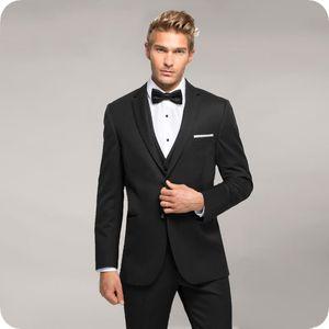 Пользовательские Черные Жених Свадебные Смокинги Последние Конструкции Пальто Брюки Мужчины Костюмы Лучшая Мужская Одежда 3 Шт