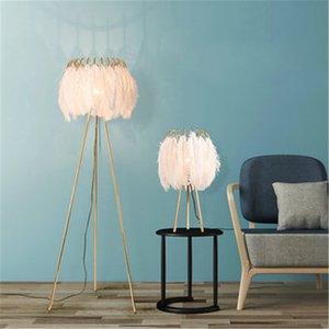 Pavimento Tabela Lighting Ins Hot Romantic White Feather Floor Lamp Criativo Quente cabeceira quarto lâmpada de estar Quarto de menina