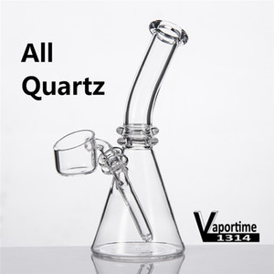 Quartz Mini Bong Beaker 5 pollici piatto Bevel Daisy Bowl Banger Nails individuale Black Box tubo di acqua Dab Rig linea 343