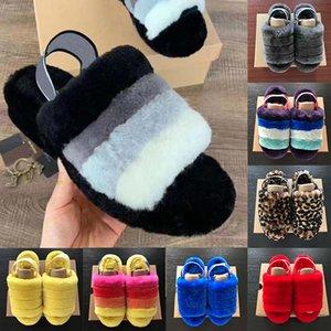 2020 Женщины Пушистый Тапочки Австралия Fluff Да Слайд вскользь ботинок sandales женские Сандалии Мокасины Fur Слайды тапочки pantoufle O4728