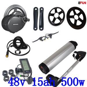 48V 500W Bafang BBS02 среднего привода электрический комплект двигателя с 48V 15AH 14.5ah литий-ионный аккумулятор использование Samsung мобильный + 54.6V зарядное устройство свободного налога