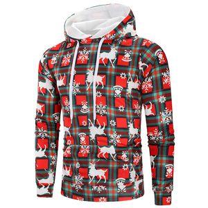 Mens dia de Natal Designer Hoodies Moda de Natal Imprimir Big bolso Mens Hoodies Roupa capuz machos