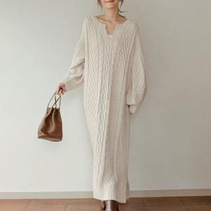 풀오버 니트 스웨터 드레스 여성 우아한 가을 긴 소매 솔리드 베이지 색 두꺼운 롱 드레스 한국어 인과 Vestidos 미니멀