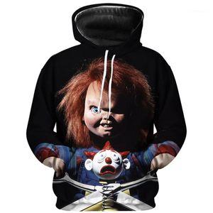 Mens Moletons Halloween Horror Impresso Casais capuz Mens Chucky Figura Designer Hoodies Autumn manga comprida com capuz