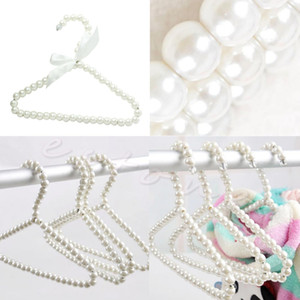 3pcs Plastic Pearl Beaded Bow Clothes Dress Coat Hangers Weding For Kid Children