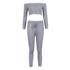 Women Clothes Set Ladies Tracksuit Hoodies Crop Tops Pants Sets Wear Casual Suit Solid Gray 2Pcs Pajamas