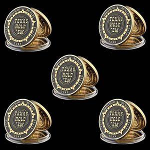5PCS Texas Hold'em Flop Turn rivière Big Small Blind Metal Protector Token Coin avec couvercle en plastique du Texas Poker Chip Set Poker