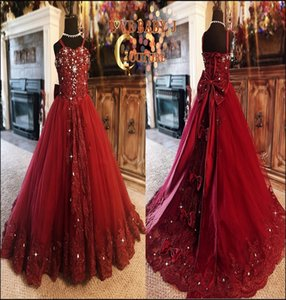 Hot Sale Glitter Red Flower Girl Dress Spaghetti Strap Bow Applique Lace Crystal Sequin Pageant Gown Floor-length Custom Made Birthday Gown