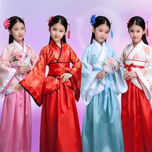 Filles Nouvel An chinois traditionnel scène Hanfu enfants Fête Spectacle Tang Costume Femme 100-180cm Danse Costumes Rétro