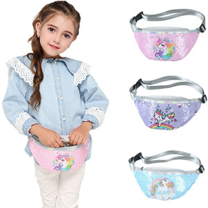 Sequins Printing Waist Bag For Women Fashion Fanny Pack Girls Shoulder Belt Bags Kids Waist Packs Cartoon Glitter Phone Pouch