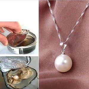 Kadınlar Beyaz kabuk Inci Kolye Oyster Damla Kolye Gümüş Zincir Takı Hediye